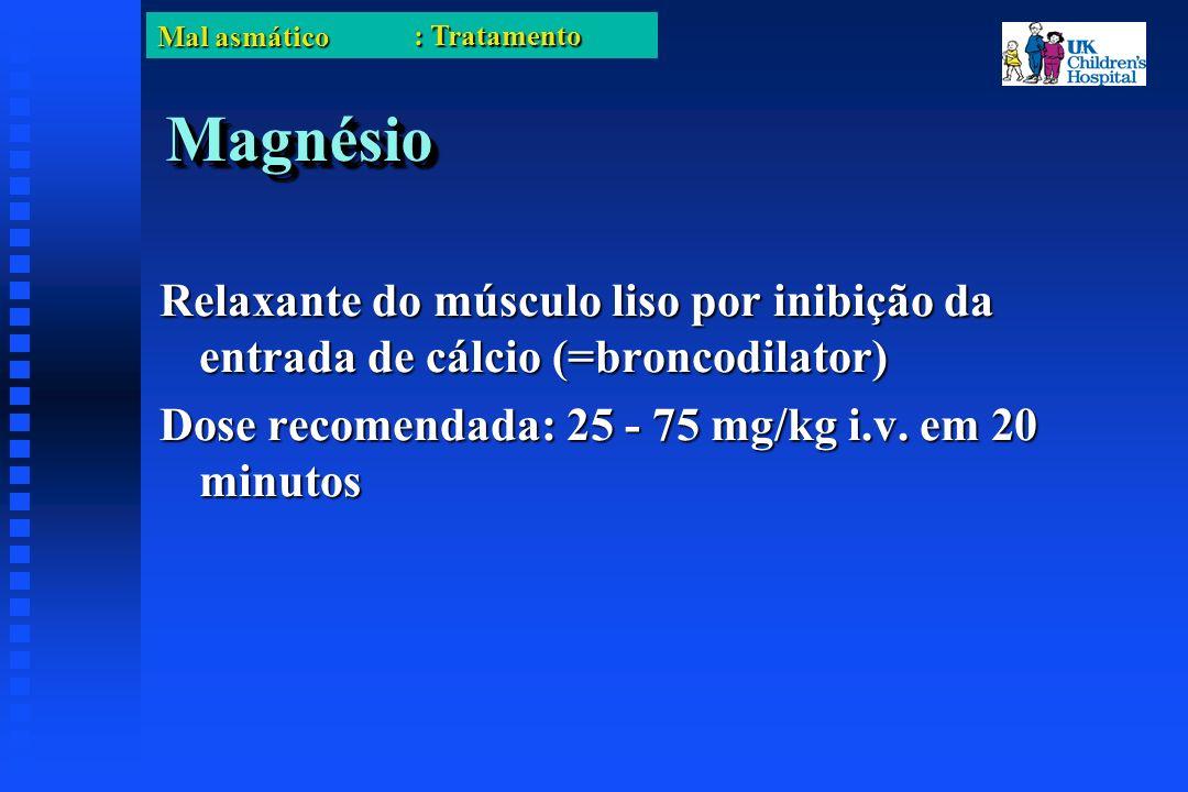 Mal asmático MagnésioMagnésio Relaxante do músculo liso por inibição da entrada de cálcio (=broncodilator) Dose recomendada: 25 - 75 mg/kg i.v.