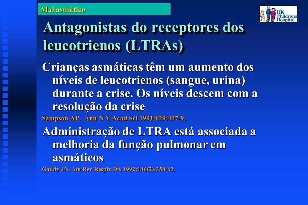 Mal asmático Antagonistas do receptores dos leucotrienos (LTRAs) Crianças asmáticas têm um aumento dos níveis de leucotrienos (sangue, urina) durante a crise.