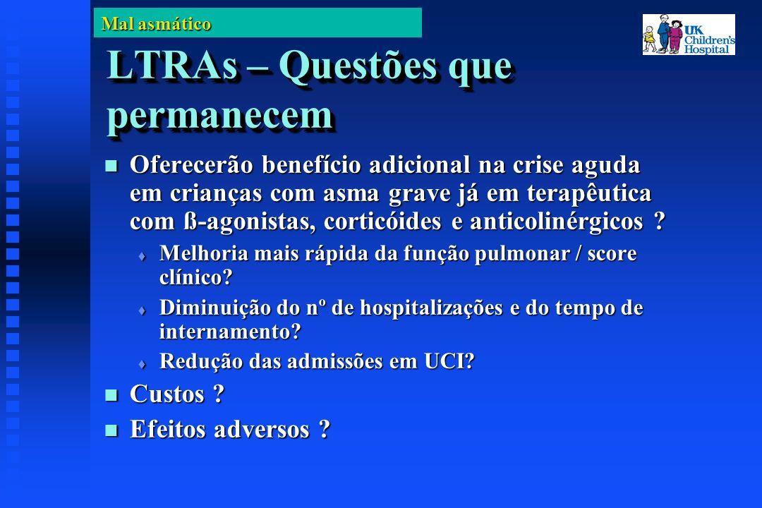 Mal asmático LTRAs – Questões que permanecem Oferecerão benefício adicional na crise aguda em crianças com asma grave já em terapêutica com ß-agonistas, corticóides e anticolinérgicos .