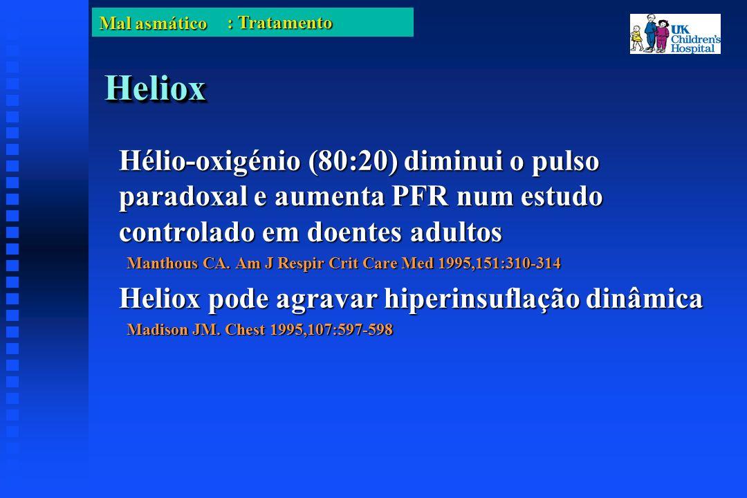 Mal asmático HelioxHeliox Hélio-oxigénio (80:20) diminui o pulso paradoxal e aumenta PFR num estudo controlado em doentes adultos Manthous CA.