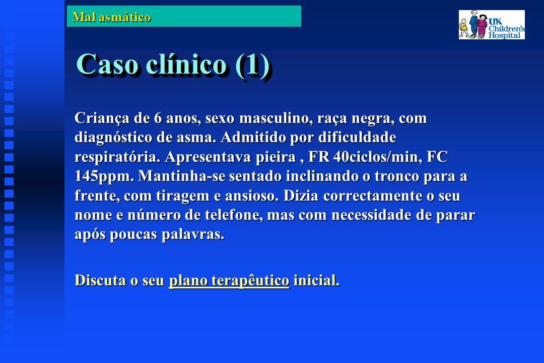 Mal asmático Caso clínico (1) Criança de 6 anos, sexo masculino, raça negra, com diagnóstico de asma.