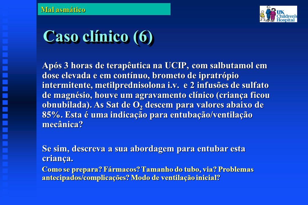Mal asmático Caso clínico (6) Após 3 horas de terapêutica na UCIP, com salbutamol em dose elevada e em contínuo, brometo de ipratrópio intermitente, metilprednisolona i.v.