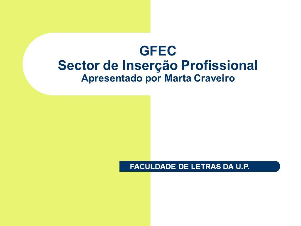 GFEC Sector de Inserção Profissional Apresentado por Marta Craveiro FACULDADE DE LETRAS DA U.P.