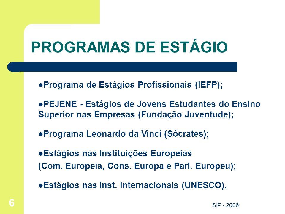 SIP - 2006 6 PROGRAMAS DE ESTÁGIO Programa de Estágios Profissionais (IEFP); PEJENE - Estágios de Jovens Estudantes do Ensino Superior nas Empresas (F