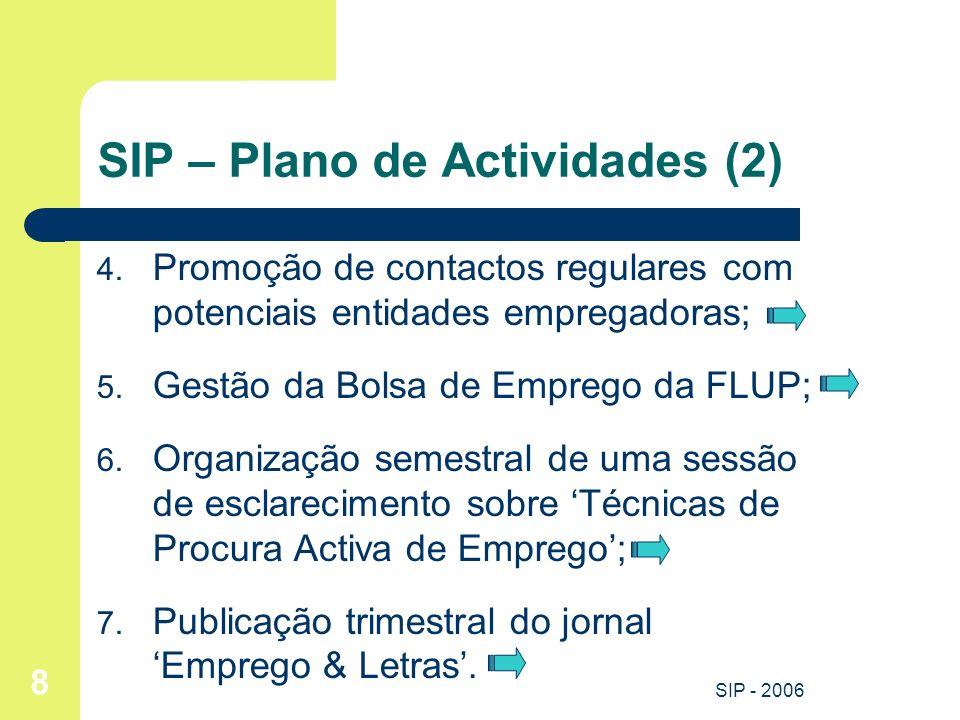 SIP - 2006 8 SIP – Plano de Actividades (2) 4. Promoção de contactos regulares com potenciais entidades empregadoras; 5. Gestão da Bolsa de Emprego da