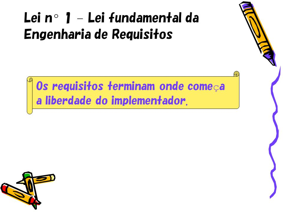 Lei n º 1 – Lei fundamental da Engenharia de Requisitos Os requisitos terminam onde come ç a a liberdade do implementador.
