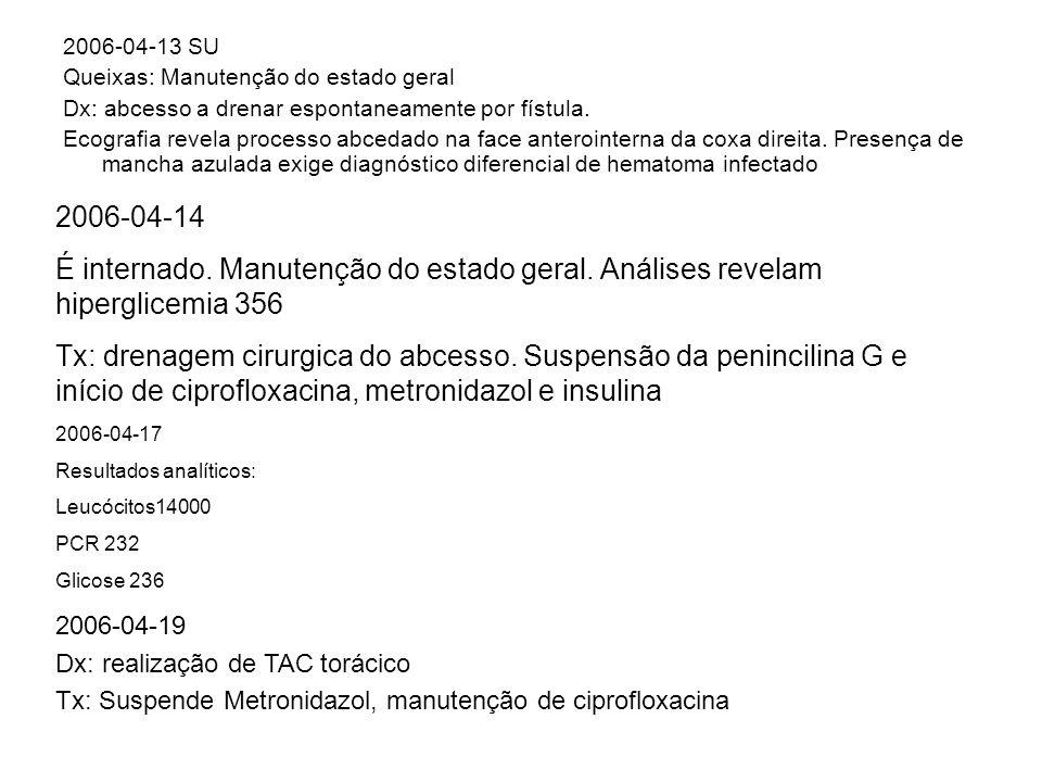 2006-04-13 SU Queixas: Manutenção do estado geral Dx: abcesso a drenar espontaneamente por fístula. Ecografia revela processo abcedado na face anteroi