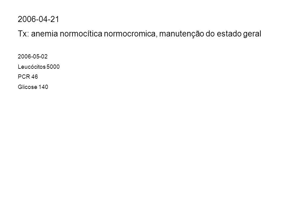 2006-05-02 Leucócitos 5000 PCR 46 Glicose 140 2006-04-21 Tx: anemia normocítica normocromica, manutenção do estado geral