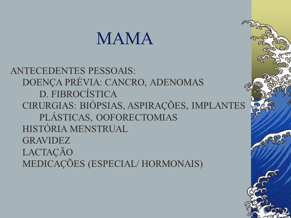 MAMA ANTECEDENTES PESSOAIS: DOENÇA PRÉVIA: CANCRO, ADENOMAS D. FIBROCÍSTICA CIRURGIAS: BIÓPSIAS, ASPIRAÇÕES, IMPLANTES PLÁSTICAS, OOFORECTOMIAS HISTÓR