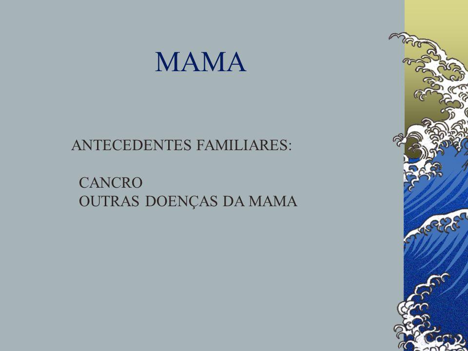MAMA HX PESSOAL E SOCIAL: IDADE MODIFICAÇÕES RELAÇÃO COM MENSTRUAÇÃO DATA DO 1º DIA DO ÚLTIMO CICLO MENOPAUSA APOIO AUTO-EXAME FACTORES DE RISCO MAMOGRAFIA MEDICAÇÕES ALCOOL