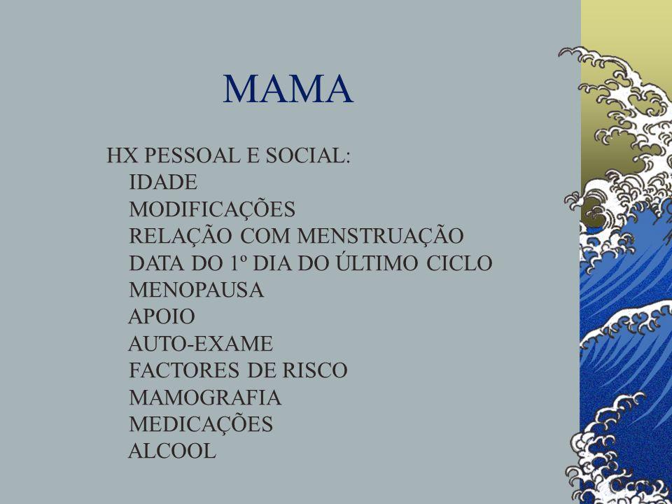 MAMA FACTORES DE RISCO PARA CANCRO: IDADE (80% APÓS OS 50 ANOS) HX PESSOAL, HX FAMILIAR BIÓPSIA ANTERIOR (HIPERPLASIA ATÍPICA) MUTAÇÃO GENÉTICA (BRCA1, BRCA2) DENSIDADE TECIDULAR NA MAMOGRAFIA MENARCA PRECOCE MENOPAUSA TARDIA NULIPARIDADE G1 APÓS 30 ANOS THS