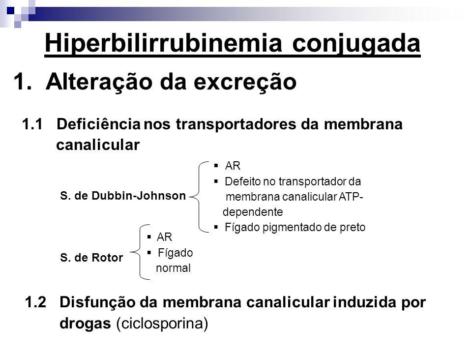 1. Alteração da excreção 1.1 Deficiência nos transportadores da membrana canalicular S. de Dubbin-Johnson S. de Rotor AR Defeito no transportador da m