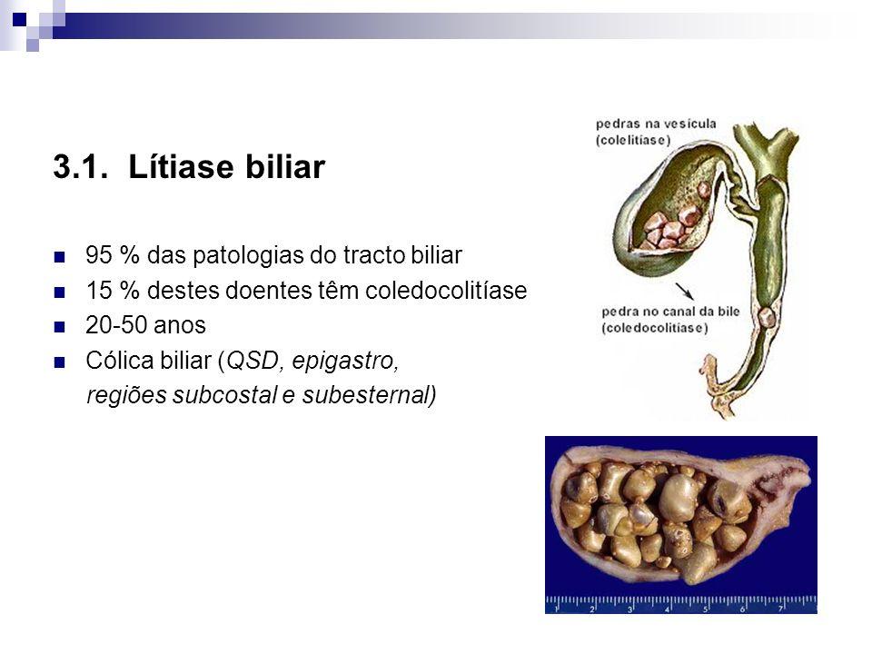 3.1. Lítiase biliar 95 % das patologias do tracto biliar 15 % destes doentes têm coledocolitíase 20-50 anos Cólica biliar (QSD, epigastro, regiões sub