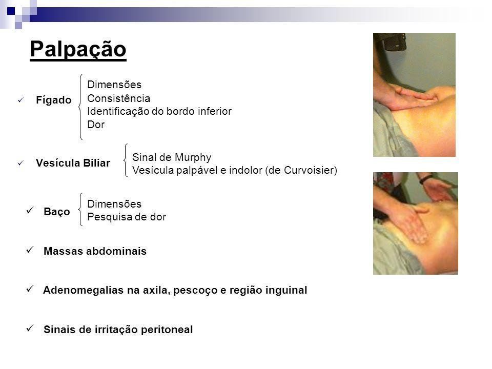Palpação Fígado Vesícula Biliar Baço Massas abdominais Adenomegalias na axila, pescoço e região inguinal Sinais de irritação peritoneal Dimensões Cons