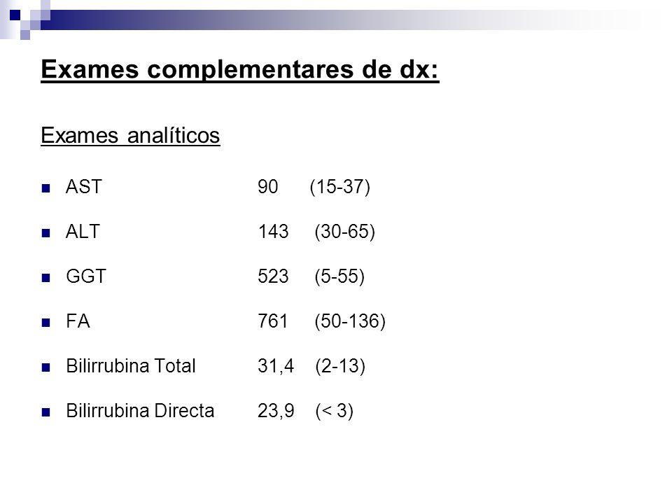 Exames complementares de dx: Exames analíticos AST 90 (15-37) ALT 143 (30-65) GGT 523 (5-55) FA 761 (50-136) Bilirrubina Total 31,4 (2-13) Bilirrubina