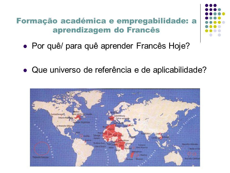 Formação académica e empregabilidade: a aprendizagem do Francês Por quê/ para quê aprender Francês Hoje.