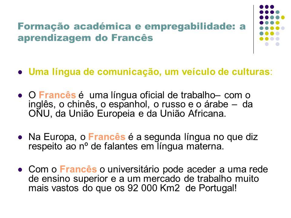 Formação académica e empregabilidade: a aprendizagem do Francês Uma língua de comunicação, um veículo de culturas: O Francês é uma língua oficial de trabalho– com o inglês, o chinês, o espanhol, o russo e o árabe – da ONU, da União Europeia e da União Africana.