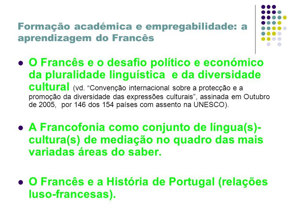 Formação académica e empregabilidade: a aprendizagem do Francês O Francês e o desafio político e económico da pluralidade linguística e da diversidade cultural (vd.