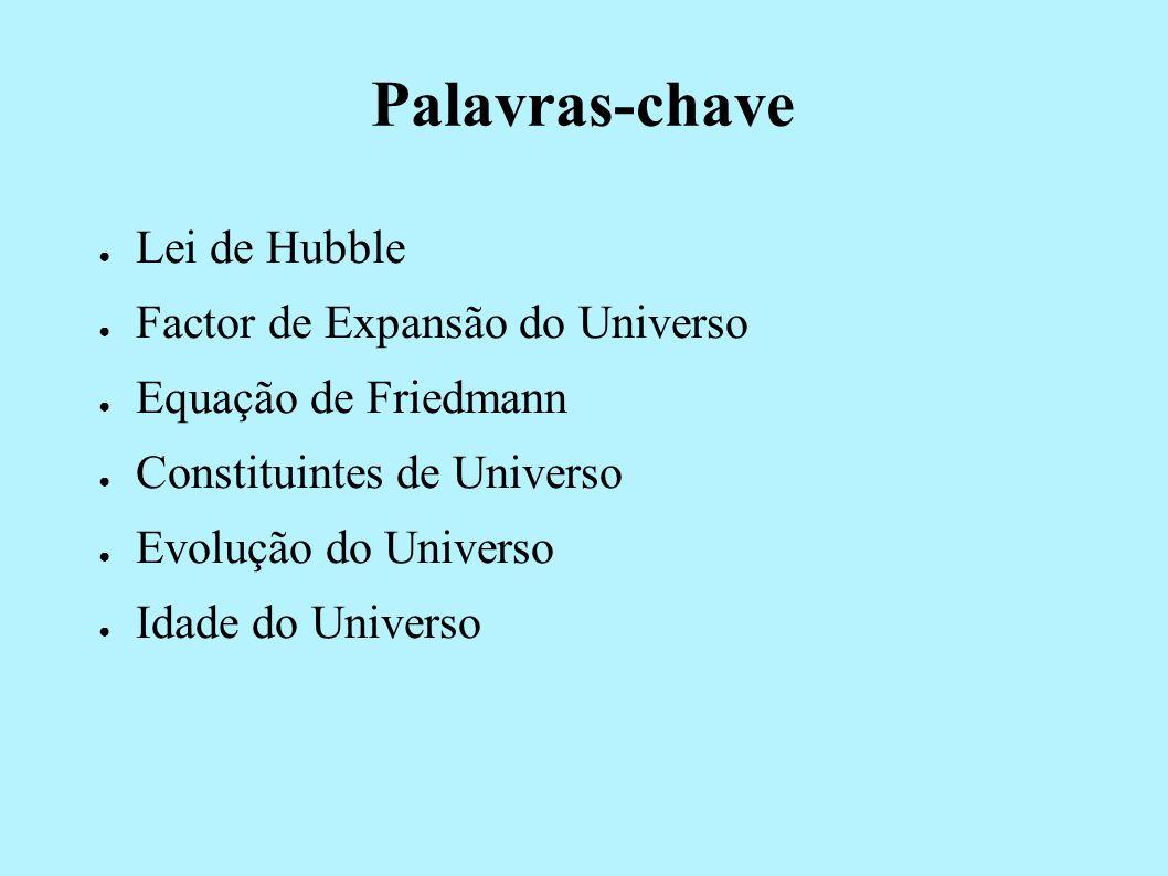 Palavras-chave Lei de Hubble Factor de Expansão do Universo Equação de Friedmann Constituintes de Universo Evolução do Universo Idade do Universo
