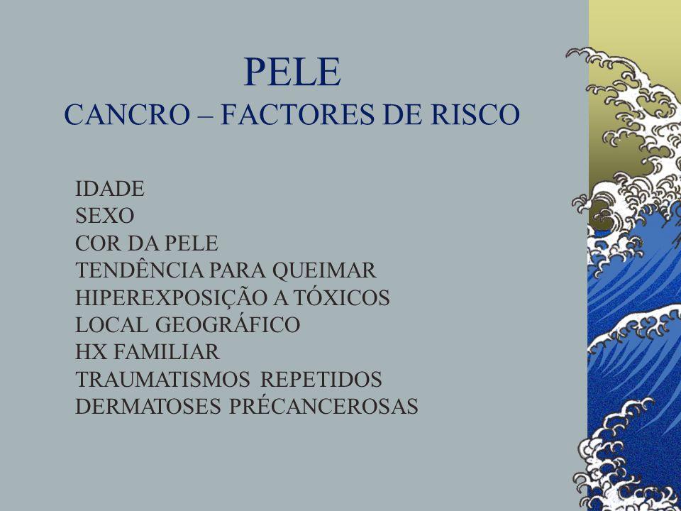 PELE CANCRO – FACTORES DE RISCO IDADE SEXO COR DA PELE TENDÊNCIA PARA QUEIMAR HIPEREXPOSIÇÃO A TÓXICOS LOCAL GEOGRÁFICO HX FAMILIAR TRAUMATISMOS REPETIDOS DERMATOSES PRÉCANCEROSAS