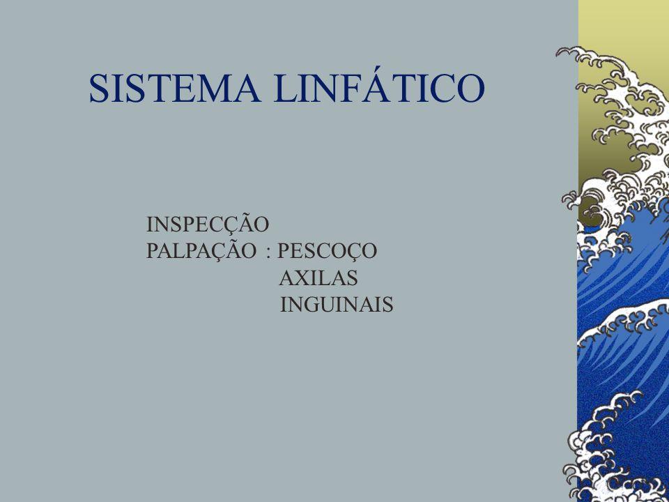 SISTEMA LINFÁTICO INSPECÇÃO PALPAÇÃO : PESCOÇO AXILAS INGUINAIS