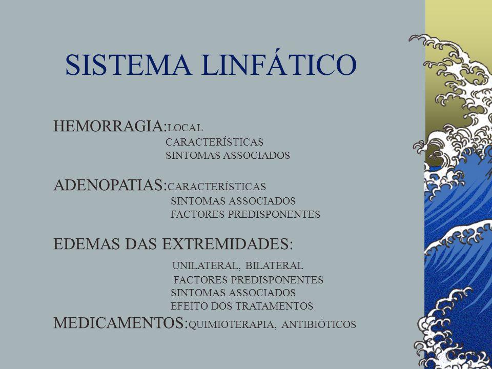SISTEMA LINFÁTICO HEMORRAGIA: LOCAL CARACTERÍSTICAS SINTOMAS ASSOCIADOS ADENOPATIAS: CARACTERÍSTICAS SINTOMAS ASSOCIADOS FACTORES PREDISPONENTES EDEMA