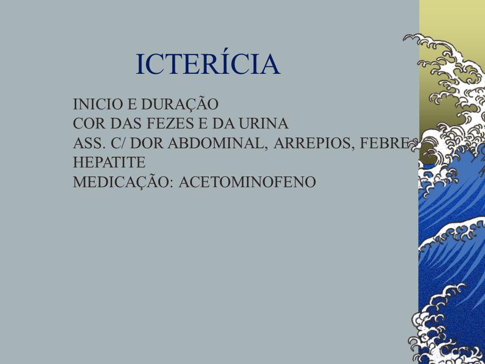 ICTERÍCIA INICIO E DURAÇÃO COR DAS FEZES E DA URINA ASS. C/ DOR ABDOMINAL, ARREPIOS, FEBRE HEPATITE MEDICAÇÃO: ACETOMINOFENO