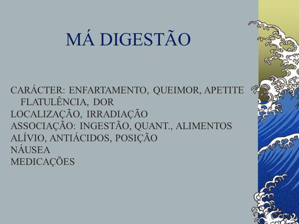 MÁ DIGESTÃO CARÁCTER: ENFARTAMENTO, QUEIMOR, APETITE FLATULÊNCIA, DOR LOCALIZAÇÃO, IRRADIAÇÃO ASSOCIAÇÃO: INGESTÃO, QUANT., ALIMENTOS ALÍVIO, ANTIÁCID