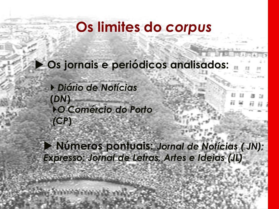 Os limites do corpus Os jornais e periódicos analisados: Números pontuais: Jornal de Notícias ( JN); Expresso; Jornal de Letras, Artes e Ideias (JL) D