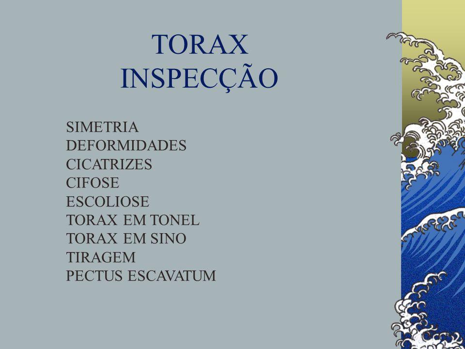 TORAX INSPECÇÃO SIMETRIA DEFORMIDADES CICATRIZES CIFOSE ESCOLIOSE TORAX EM TONEL TORAX EM SINO TIRAGEM PECTUS ESCAVATUM