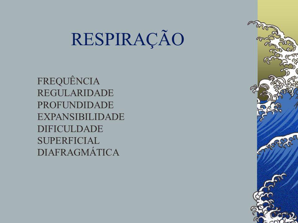RESPIRAÇÃO FREQUÊNCIA REGULARIDADE PROFUNDIDADE EXPANSIBILIDADE DIFICULDADE SUPERFICIAL DIAFRAGMÁTICA