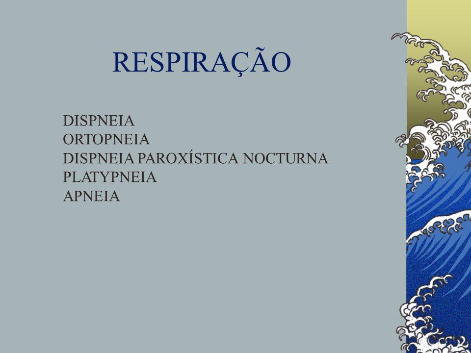 RESPIRAÇÃO DISPNEIA ORTOPNEIA DISPNEIA PAROXÍSTICA NOCTURNA PLATYPNEIA APNEIA