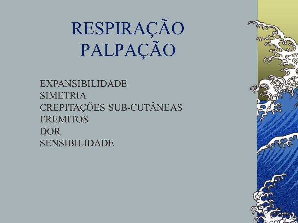 RESPIRAÇÃO PALPAÇÃO EXPANSIBILIDADE SIMETRIA CREPITAÇÕES SUB-CUTÂNEAS FRÉMITOS DOR SENSIBILIDADE