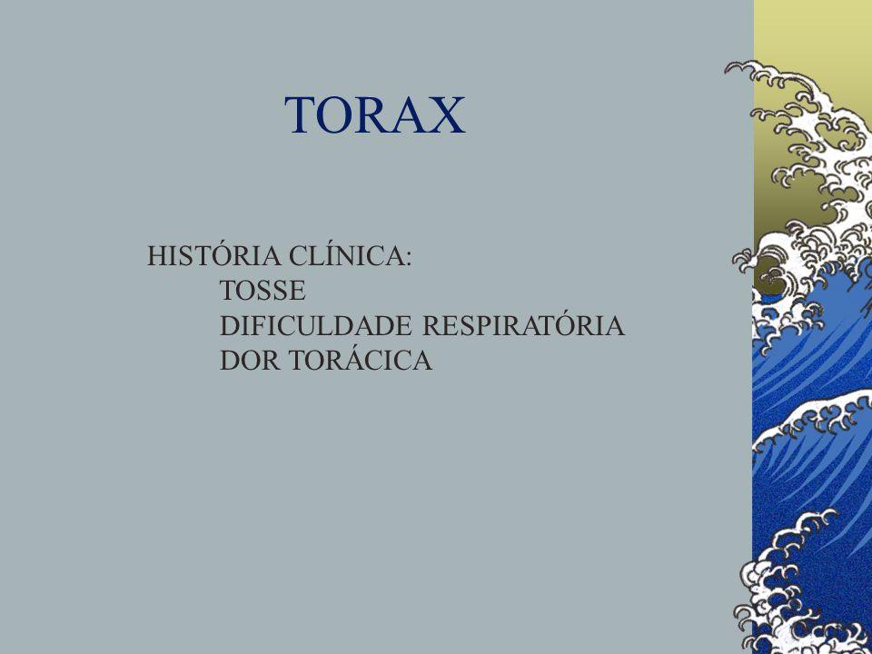 TORAX HISTÓRIA CLÍNICA: TOSSE DIFICULDADE RESPIRATÓRIA DOR TORÁCICA
