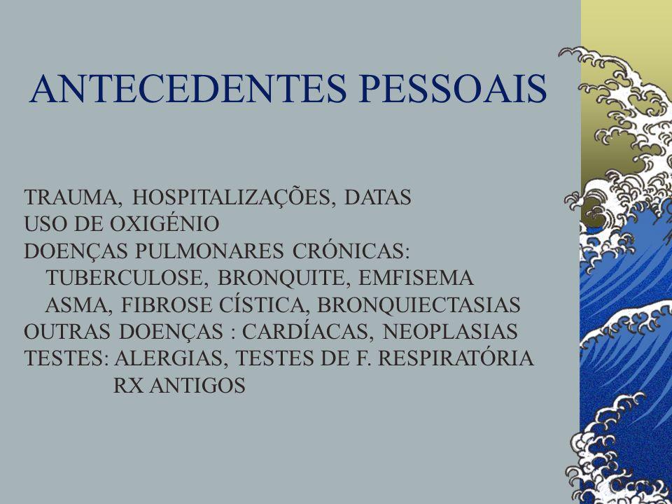 ANTECEDENTES PESSOAIS TRAUMA, HOSPITALIZAÇÕES, DATAS USO DE OXIGÉNIO DOENÇAS PULMONARES CRÓNICAS: TUBERCULOSE, BRONQUITE, EMFISEMA ASMA, FIBROSE CÍSTI