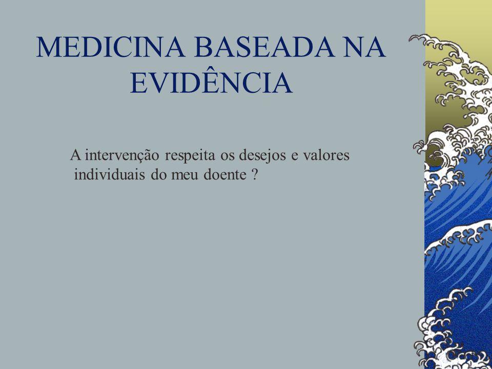 MEDICINA BASEADA NA EVIDÊNCIA A intervenção respeita os desejos e valores individuais do meu doente