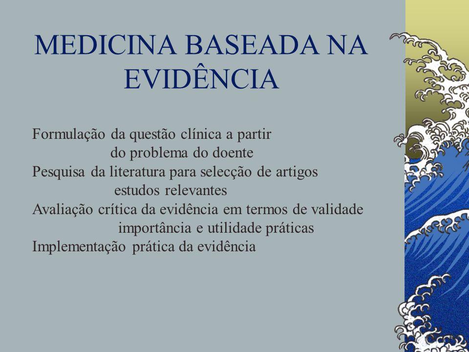 MEDICINA BASEADA NA EVIDÊNCIA Formulação da questão clínica a partir do problema do doente Pesquisa da literatura para selecção de artigos estudos rel