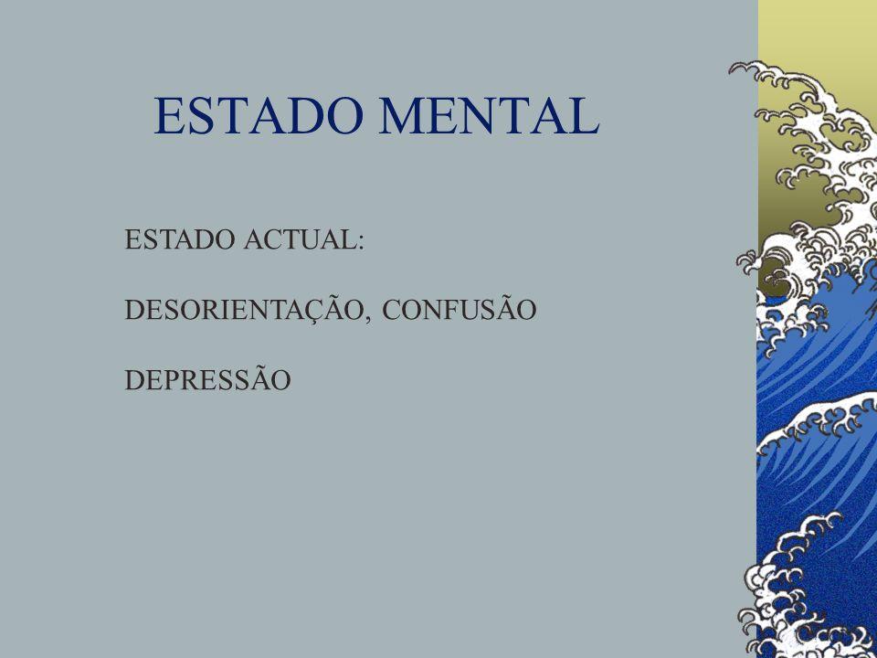 ESTADO MENTAL ESTADO ACTUAL: DESORIENTAÇÃO, CONFUSÃO DEPRESSÃO