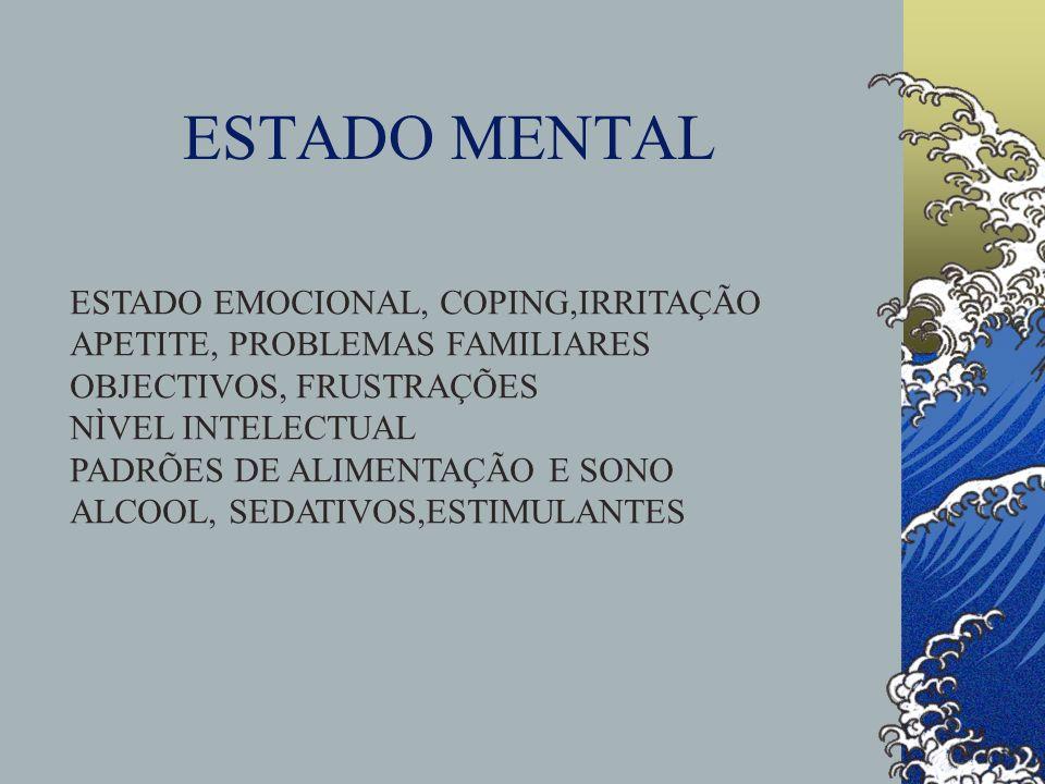 ESTADO MENTAL ESTADO EMOCIONAL, COPING,IRRITAÇÃO APETITE, PROBLEMAS FAMILIARES OBJECTIVOS, FRUSTRAÇÕES NÌVEL INTELECTUAL PADRÕES DE ALIMENTAÇÃO E SONO