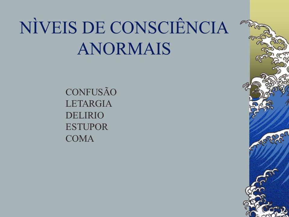NÌVEIS DE CONSCIÊNCIA ANORMAIS CONFUSÃO LETARGIA DELIRIO ESTUPOR COMA