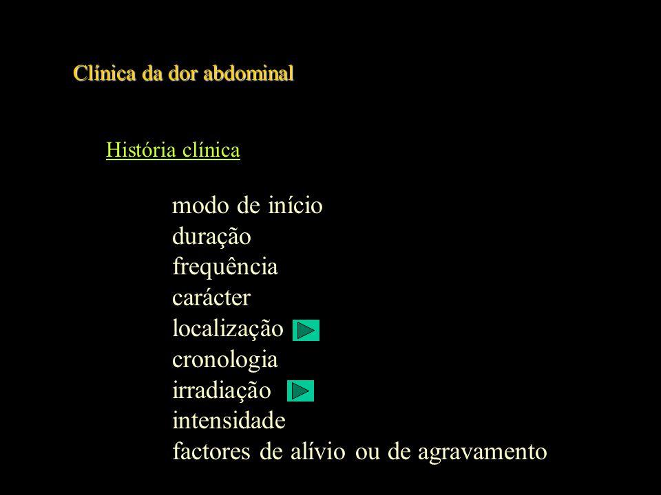 Clínica da dor abdominal História clínica (cont) sintomas associados anorexia náusea vómito diarreia obstipação icterícia hematemeses melenas sintomas uro-genitais história ginecológica e obstétrica