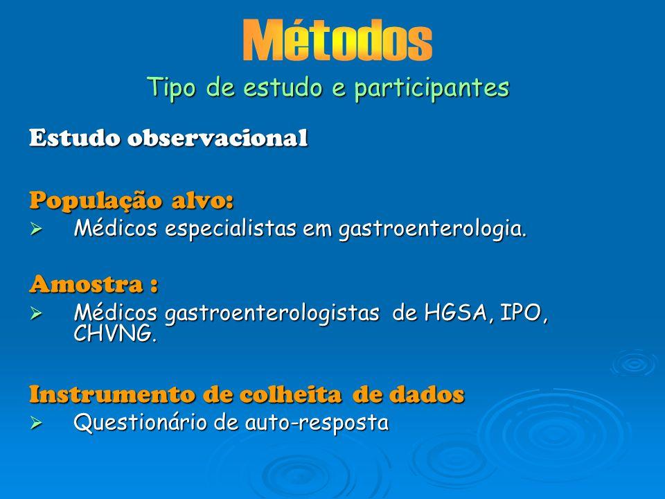 Estudo observacional População alvo: Médicos especialistas em gastroenterologia. Médicos especialistas em gastroenterologia. Amostra : Médicos gastroe