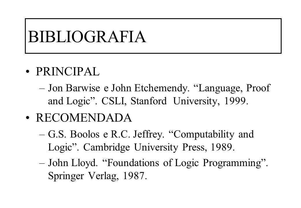 BIBLIOGRAFIA PRINCIPAL –Jon Barwise e John Etchemendy. Language, Proof and Logic. CSLI, Stanford University, 1999. RECOMENDADA –G.S. Boolos e R.C. Jef