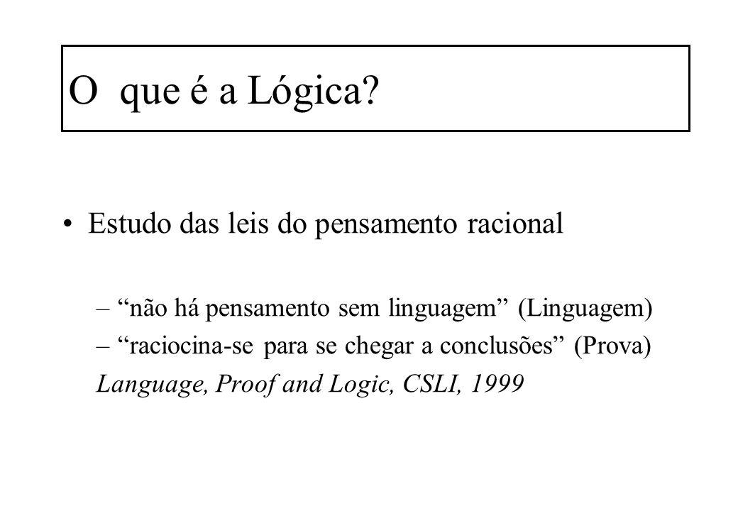 O que é a Lógica? Estudo das leis do pensamento racional –não há pensamento sem linguagem (Linguagem) –raciocina-se para se chegar a conclusões (Prova