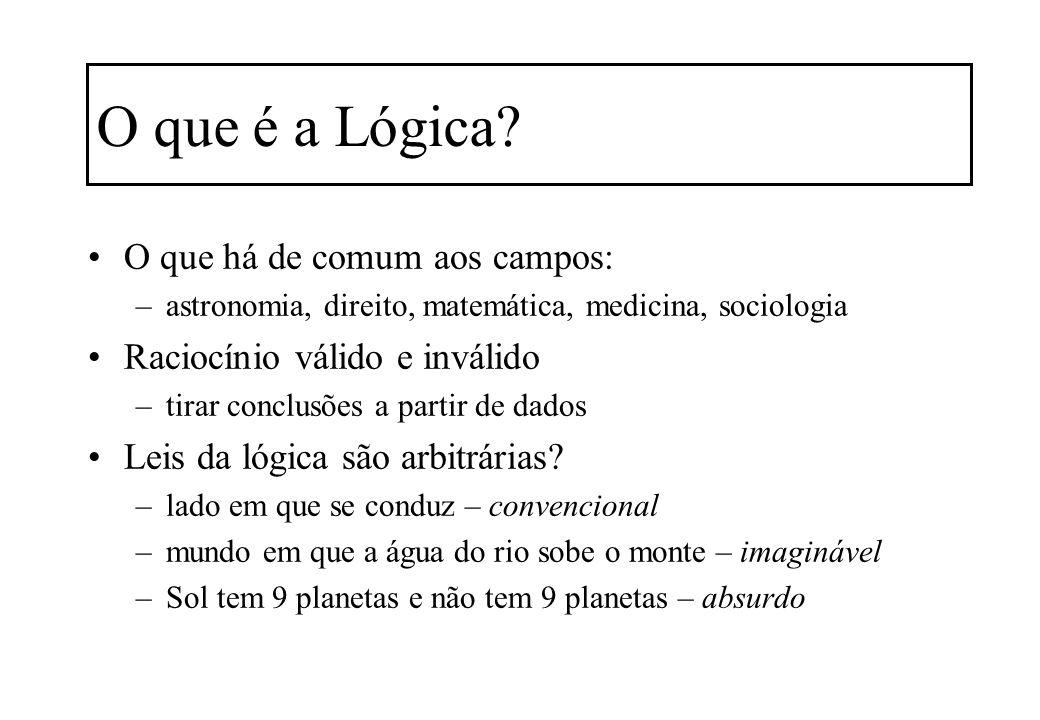 O que é a Lógica? O que há de comum aos campos: –astronomia, direito, matemática, medicina, sociologia Raciocínio válido e inválido –tirar conclusões