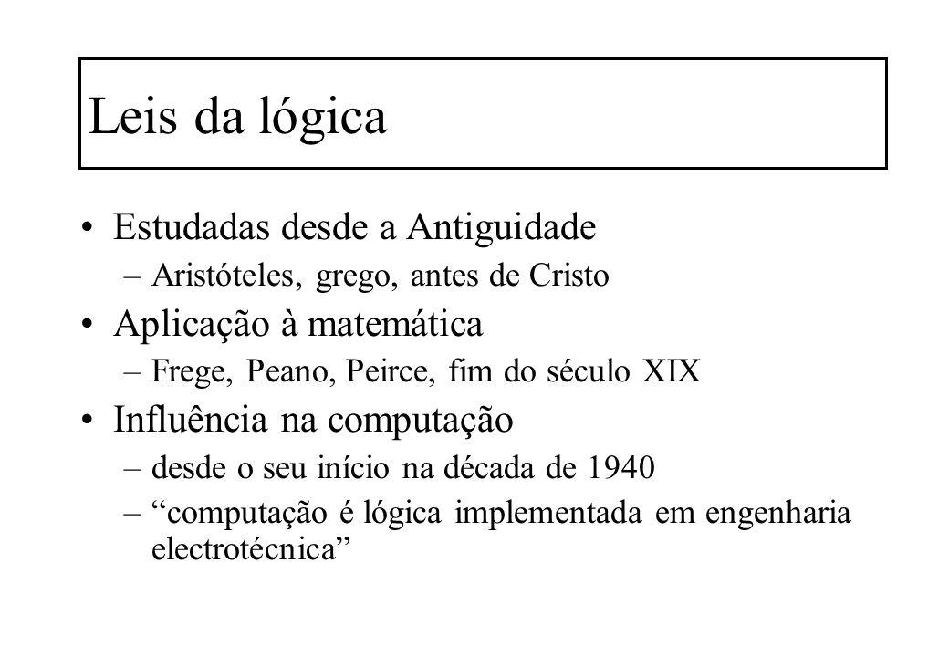 Leis da lógica Estudadas desde a Antiguidade –Aristóteles, grego, antes de Cristo Aplicação à matemática –Frege, Peano, Peirce, fim do século XIX Infl