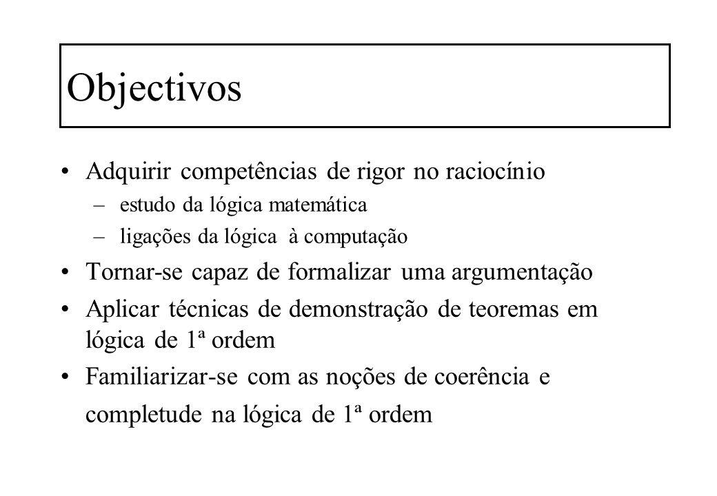 Objectivos Adquirir competências de rigor no raciocínio – estudo da lógica matemática – ligações da lógica à computação Tornar-se capaz de formalizar