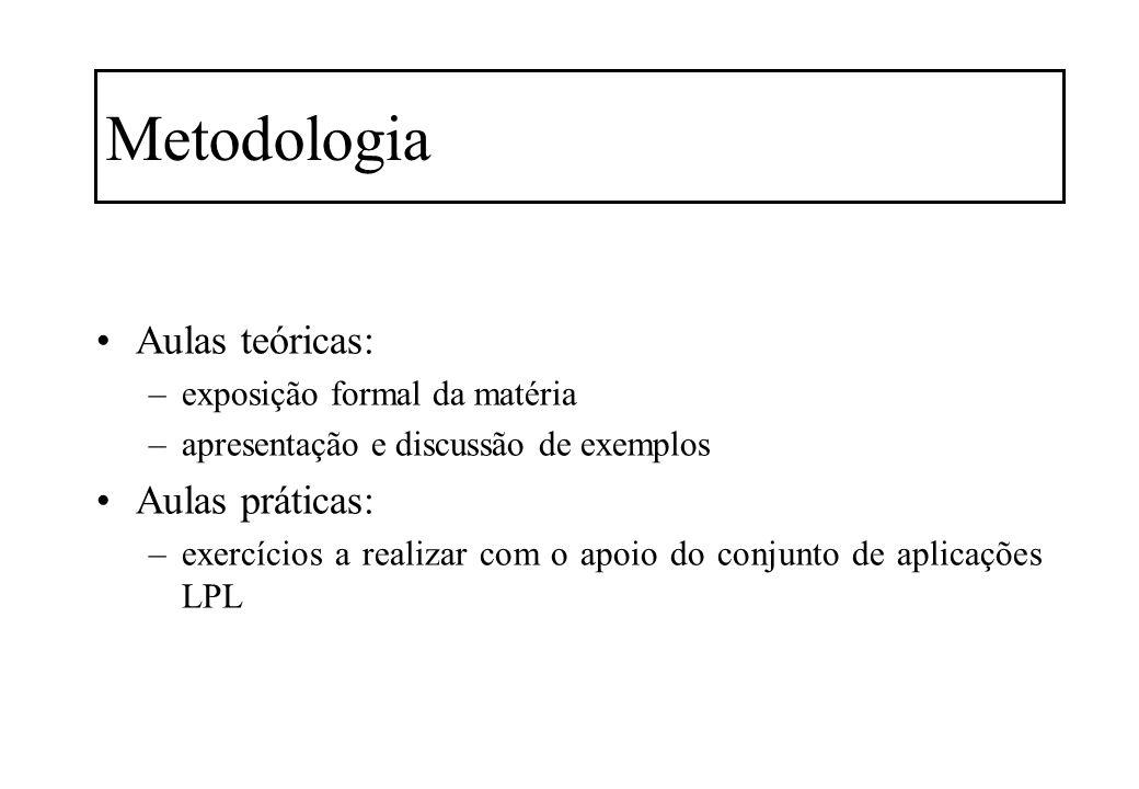 Metodologia Aulas teóricas: –exposição formal da matéria –apresentação e discussão de exemplos Aulas práticas: –exercícios a realizar com o apoio do c