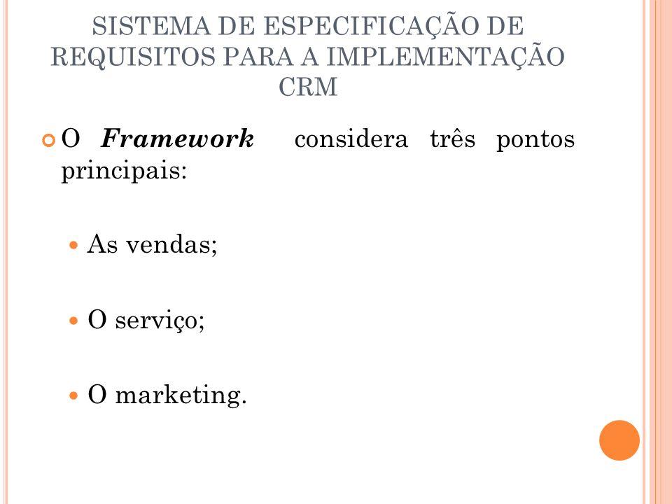 SISTEMA DE ESPECIFICAÇÃO DE REQUISITOS PARA A IMPLEMENTAÇÃO CRM O Framework considera três pontos principais: As vendas; O serviço; O marketing.
