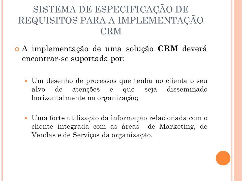SISTEMA DE ESPECIFICAÇÃO DE REQUISITOS PARA A IMPLEMENTAÇÃO CRM A implementação de uma solução CRM deverá encontrar-se suportada por: Um desenho de pr